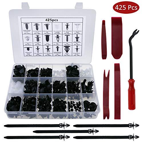 Fixget Tools Zexuan Set da 425 Pezzi per Clip da portiera, Morsetti paraurti, Clip di Fissaggio, con...