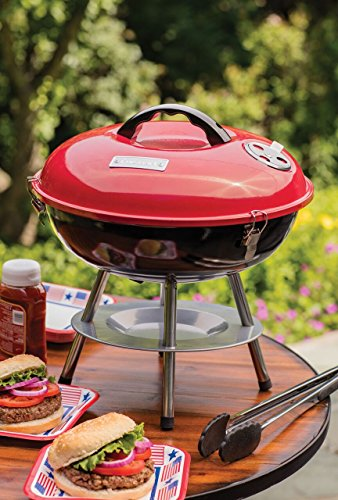 Product Image 2: Cuisinart CCG190RB Portable Charcoal Grill, 14-Inch, Red, 14.5