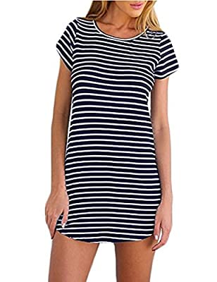 Cotton & Polyester. Stretchy and soft material makes you feel good and comfortable when wearing. Black and white stripes dress.It's a basic and classic summer dress,suit for different occasions such as casual, outdoor sports, party,and cocktail. This...