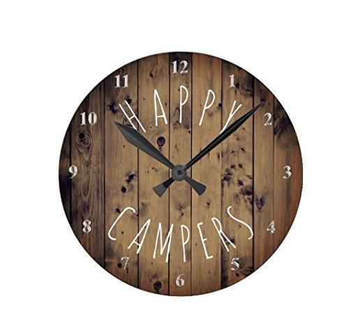 Lionkin8 Happy Campers Rustic Wood Retirement RV Camping Round...