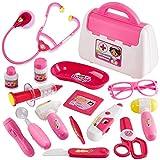 Buyger 16 Piezas Maletin Medicos Juguete Dentista Doctora Enfermera Kit Medico Juguetes Accesorios para Niña Niños 3 4 5 Años (Rosa)