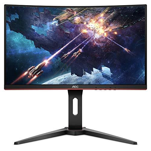 AOC C24G1 24' Curved Frameless Gaming Monitor, FHD 1080p, 1500R VA panel, 1ms 144Hz, FreeSync, Height adjustable, VESA, 3-Year Zero Dead Pixels
