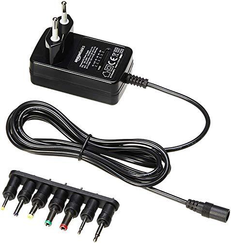 AmazonBasics - Adattatore di alimentazione DC universale con 7 connettori rimovibili, 3-12 V, Polarità Reversibile