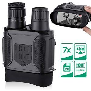 """Binoculares Digitales Vision Nocturna, Tomar Fotos y Videos -Equipo de Espionaje infrarrojo de 3.5-7x31mm,850nm IR-Pantalla Grande de 4 """",1300 ft Rango de visualización con Tarjeta de Memoria 32G 6"""