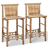 ZAMAX 2pcs Bamboo Tiki Bar Stools, Rustic Stye Set of 2 Pub Chairs with Backrest and Footrest Counter Height Barstool for Kitchen Dining Room Bistro and Cafe Shop