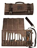 Chef Knife Roll Bag Holds 10 Knives PLUS Slots for Culinary Tools (Bag Only) - Canvas and Leather Knife Case for Professional Chefs | Chef Bag, Chef Knife Bag, Knife Carrying Case