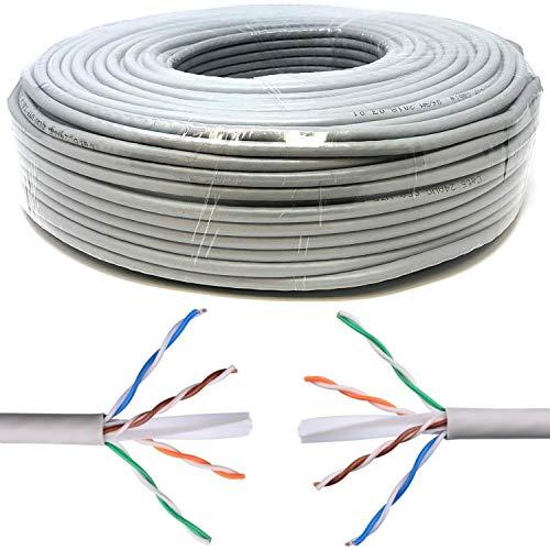 Mr. Tronic 100m Cavo di Rete Ethernet | CAT6, AWG24, CCA, UTP, RJ45 | Bobina di Rete (100 Metri, Grigio)