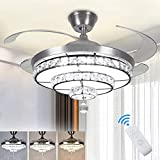 DLLT Crystal Ceiling Fan with Light, 36W Modern Ceiling Fan Remote, 4-Blade Retractable Led Fan Chandelier Outdoor/Indoor for Living Room, Bedroom, Dining Room, Color Changeable 3000K-6000K Nickel