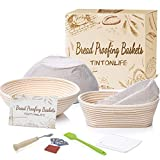 Tintonlife Banneton Proofing Basket Set of 2- 9 inch Round &10 inch Oval Sourdough Baking Set, Include Bread Lame, Dough Scraper, Linen Liner, Basting Brush,Gift for Professional and Home Bakers