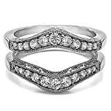 Guard & Solitaire Set,Includes 2 Pieces: Guard and 1 Carat CZ Solitaire Size 3 to 15 in 1/4 Size...