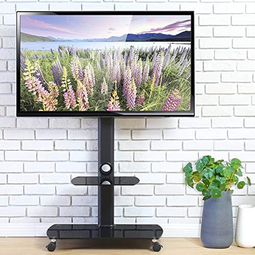 FITUEYES テレビスタンド 32~65インチ対応 キャスター付き 高さ角度調節可能 移動式 ブラック TT206505GB