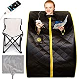 """Crew & Axel Infrared Sauna Individual Home Spa - Indoor Portable Sauna Set Includes a Heating Foot Pad & Chair Obsidian Black Size Large (L 27.5"""" x W 33"""" x H 38"""")"""