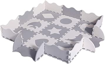 Superjare 25 Pieces Baby Play Mat, Thick Interlocking Foam Floor Tiles with 9 Patterns,..