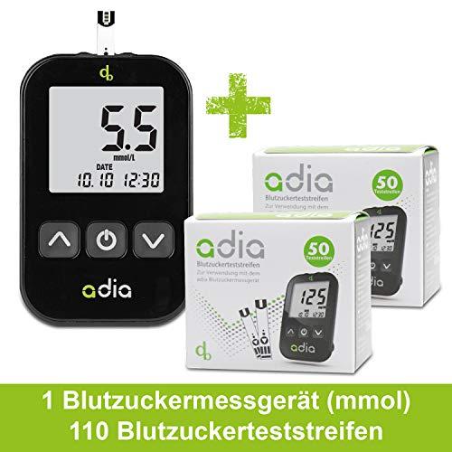 Adia Diabetes-Starter-Set inkl. Blutzuckermessgerät (mmol) mit 110 Blutzuckerteststreifen, Stechhilfe und Lanzetten – Einfache Selbstkontrolle bei Diabetes!