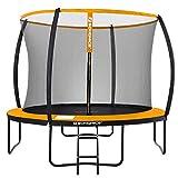 SONGMICS Trampoline extérieur, diamètre 305 cm, Équipement Jardin, avec échelle, Filet de Protection, poteaux recouverts, sécurité testée par Le TÜV Rheinland, Noir et Orange STR102O01