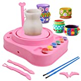IAMGlobal Pottery Wheel, Pottery Studio, Craft Kit, Artist Studio, Ceramic Machine with Clay, Educational Toy for Kids Beginners (Pink)