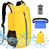 VBIGER Waterproof Dry Bag Backpack - 20L Free Phone Pouch+Bum Bag Set - Lightweight Floating Dry Sack with Adjustable Shoulder Strap - for Beach Swimming Kayaking Camping Skiing Hiking Fishing