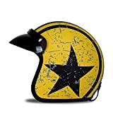 Woljay 3/4 Open Face helmet, Motorcycle Helmet Flat with Rebel Star Graphic Black + Yellow (M)