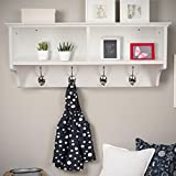 Home Source White Coat Hook Wall Mounted Hallway Unit 2 Open Shelves, Wooden, (W) 60cm (D) 20cm (H) 27cm (Kitchen & Home)