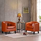 VINGLI Faux Leather Accent Chair Set of 2, Leather Upholstered Barrel Chair, Club Armchair Modern Style Tub Chair, Sturdy Fireside Chair with Padded Seat for Living Room, Reception Room, Orange
