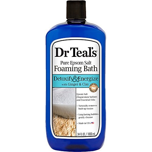 Dr Teal's Foaming Bath with Pure Epsom Salt, Detoxify & Energize with Ginger & Clay, 34 Ounces