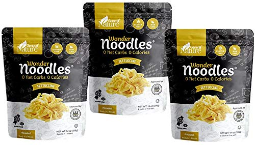 Wonder Noodles 3 PACK - Fettuccine - 3 bags/14oz - Carb-Free, Keto Pasta - Gluten-Free, Kosher, Vegan, Zero Calories - ready to eat