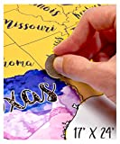 USA Scratch Off Travel Map 17X24 Inch By McScout - Decorative Art Wall Poster To Mark Your Travels On - Deluxe Watercolors - The Perfect Gift For Travelers - Impressive Artistic Colorful & Educational