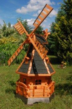 Deko-Shop-Hannusch Moulin à vent à roulement et éclairage solaire à LED 1,4 m dunkel