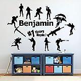 Etiqueta de la pared de vinilo battle royal juego sala de estar TV fondo niños dormitorio decoración