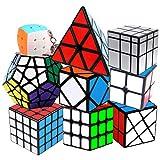 Coolzon Speed Cube Rubiscube, Ensemble de Cubes 2x2 3x3 4x4 Pyraminx Megaminx Mirror Cube Skewb Fisher Mini Cube Keychain, Cube de Vitesse Paquet de 9