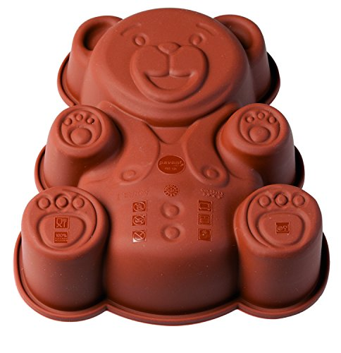 Pavoni FRT131 - Molde de silicona para tartas, diseño de oso de peluche, color café