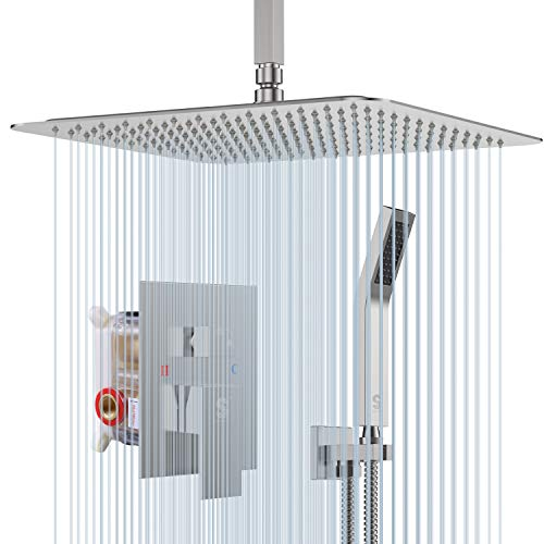 SR SUN RISE 12 Inches Brushed Nickel Shower System Bathroom Luxury Rain Mixer Shower Combo Set Ceiling Mounted Rainfall Shower Head Faucet (Contain Shower Faucet Rough-In Valve Body and Trim)