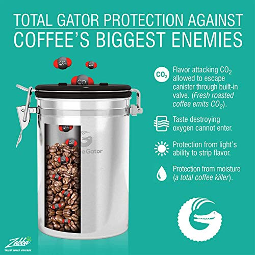 Product Image 6: Coffee Gator Stainless Steel Coffee Grounds and Beans Container Canister with Date-Tracker, CO2-Release Valve and Measuring Scoop, Large, Silver