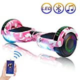 SISIGAD Hoverboard Self Balancing Scooter 6.5' Two-Wheel Self Balancing Hoverboard with Bluetooth Speaker and LED Lights Electric Scooter for Adult Kids Gift UL 2272 Certified Fun Edition - Pink Camo