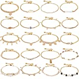 ONESING 20 Pcs Ankle Bracelets for Women Layered Beach Anklet Bracelet Adjustable Chain Anklet Foot Jewelry Anklets for Women