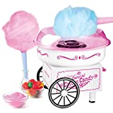 Nostalgia PCM325WP Vintage Hard and Sugar Free Countertop Cotton Candy Maker, Includes 2 Reusable Cones And Scoop – White