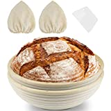KATUMO 10 Inch Bread Proofing Basket, 2 Pack Round Bread Proofing Proving Basket with Lame Bread Slashing Scraper Baking Bowl Dough Proving Baskets 25x8cm for Professional and Home Baker