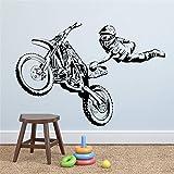 Ajcwhml Calcomanía de Pared de Motocross de Estilo Libre, Pegatina de Deportes Extremos, diseño de Interiores para el hogar, Pegatina Mural artística para Pared de habitación de niño, 79X5-79X57CM