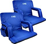 Brawntide Wide Stadium Seat Chair - Extra Thick Padding, Reclining Back, Bleacher Attachment, Shoulder Straps, 4 Pockets, Ideal for Sporting Events, Beaches, Parks, Camping (Blue, 2 Pack)