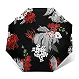 DOWNN Paraguas automático triple plegable 3D con impresión exterior Koi peces y flores, protector solar impermeable, resistente al viento, duradero, plegable, para hombre y mujer al aire libre