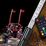 3ft LED Whip Light for UTV ATV [21 Modes] [20 Colors] [RF Wireless Remote] [Weatherproof] [USA Flag] LED Lighted Whip Antenna for RZR Can-Am Polaris UTV ATV Accessories