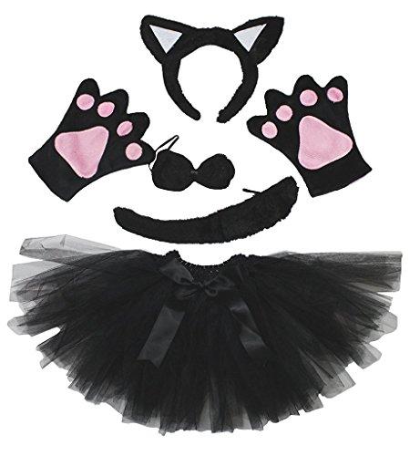 Petitebella Combined Animal Headband Bowtie Tail Tutu 5pc Girl Costume 1-5y (Cat[black/white], One Size)