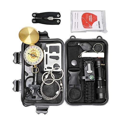 Exqline Survival Kits 12 in 1 Camping Außen Survival Gear Kits Set Mehrzweck-Erste-Hilfe-Notfallwerkzeug für den Außenbereich mit Kompass-Überlebensarmbandzange Feuerstein Taschenlampe