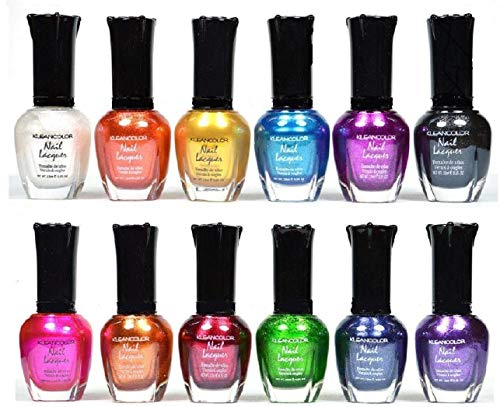 Kleancolor Nail Polish - Awesome Metallic Full Size Lacquer (Set of 12 Pieces)