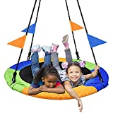 PACEARTH 40 Inch Saucer Tree Swing Flying 660lb Weight Capacity 2 Added Hanging Straps Adjustable Multi-Strand Ropes Colorful Safe and Durable Swing Seat for Children