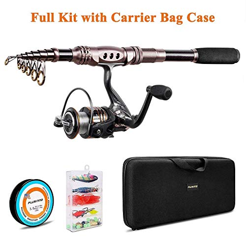 PLUSINNO Spinning Rod and Reel Combos Telescopic Fishing Rod...