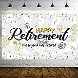 Decoracin de Fiesta de Jubilacin, Cartel de Seal Dorado y Negro de Tela Extra Grande, Pancarta de Happy Retiremente Pancarta de Fondo de Fotos (Blanco)
