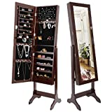SUPER DEAL 2in1 Free Standing Jewelry Cabinet Lockable Full-Length Mirrored Jewelry Armoire with 6 Shelves Large Storage Capacity Organizer, 4 Angles Adjustable