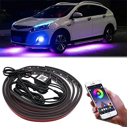 4 PCS Luci Strisce Sotto Auto, 12V LED Controllo APP Neon Multi-Modalit Decorativo Dell'atmosfera Attivato Per il Fondo Dell'auto
