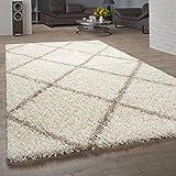 Paco Home Tapis Salon Poils Longs Shaggy Design Scandinave avec Motif Losanges, Moderne Beige, Dimension:240x340 cm